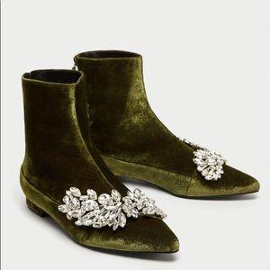 Zara Green Embellished Velvet Flat Booties